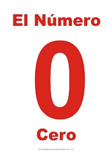 Lámina para imprimir el número cero en color rojo