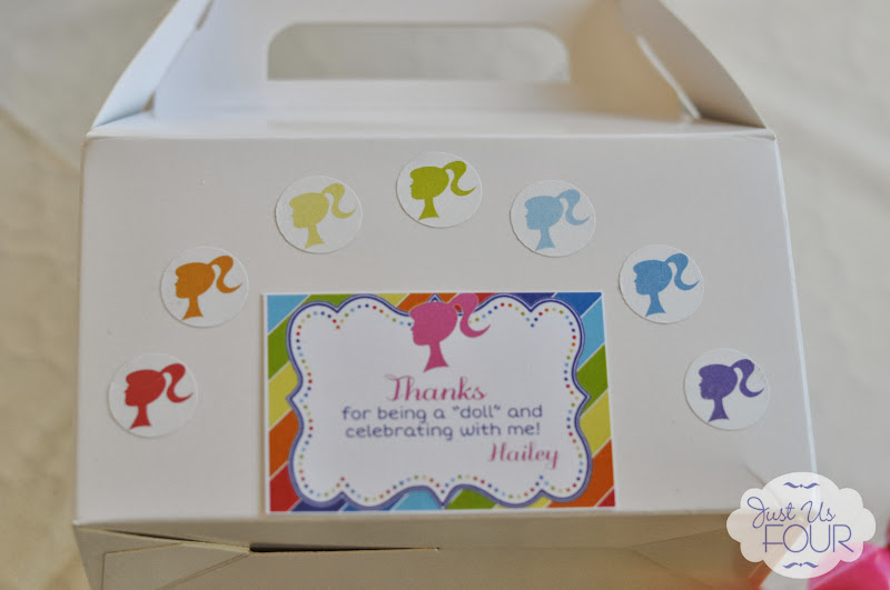 rainbow barbie party favor box