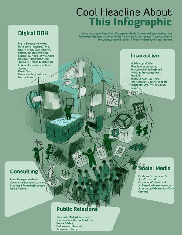 asymmetric corporate infographic illustration concept