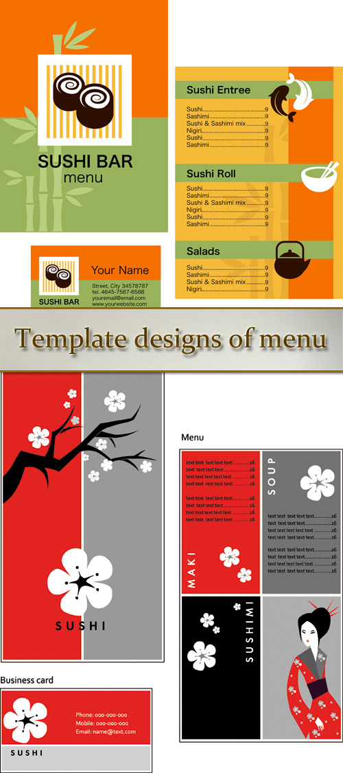 Stock: Template designs of menu and business card for sushi bar