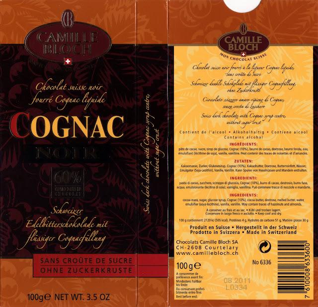tablette de chocolat noir fourré camille bloch cognac noir 60