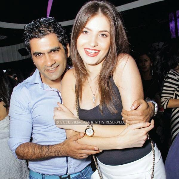 Kashif Farooq and Nastya at Kajoli Sahgal's b'day party, hosted by her husband Mohit Sahgal at Club BW in the capital.