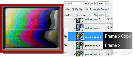 Create the second double image effect on frame 5.