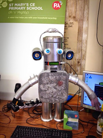 The Award Winning Pi 'n' Mighty Robot barcode scanner and recycling advisor.