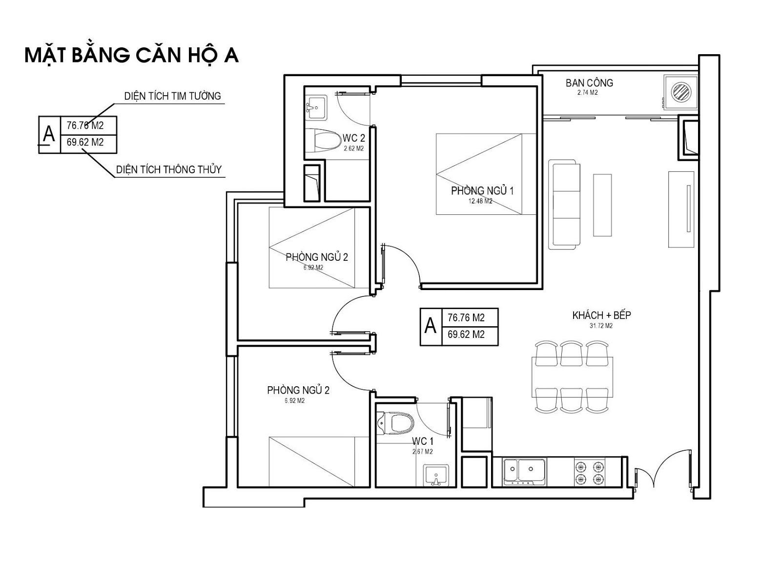Mặt bằng căn hộ A 69m 3 PN chung cư FLC Green Apartment Phạm Hùng
