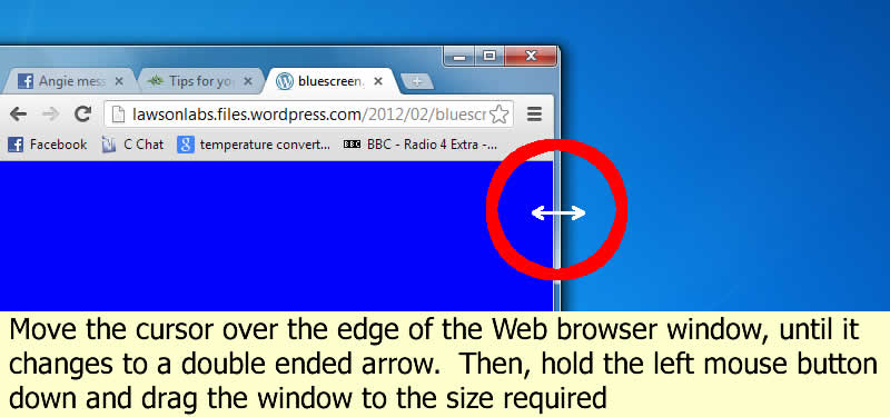 Size the web browser window to your desired width and height by dragging the edge around