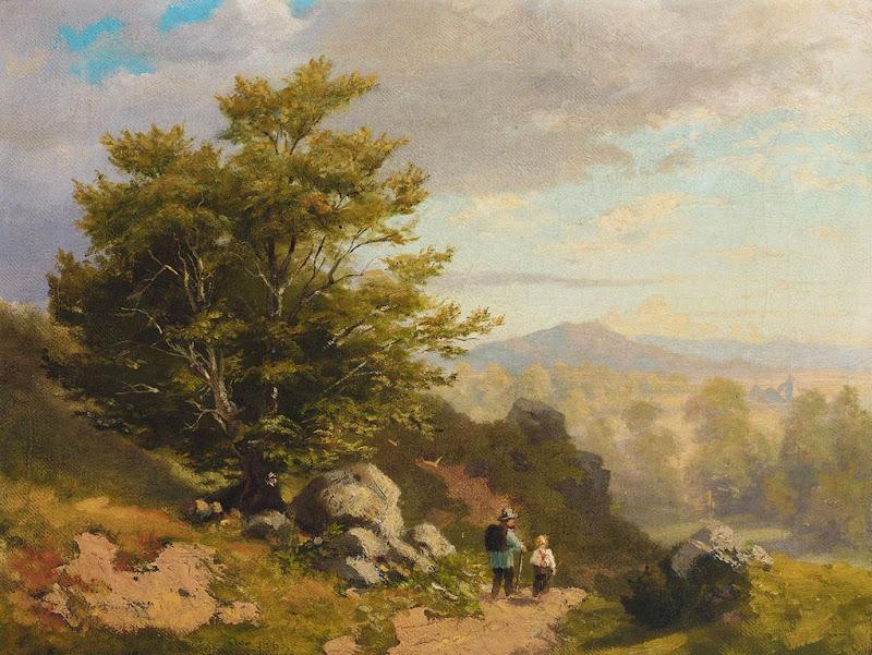 Hans Thoma - Voralpenlandschaft mit zwei Wanderern an einem sonnigen Sommertag