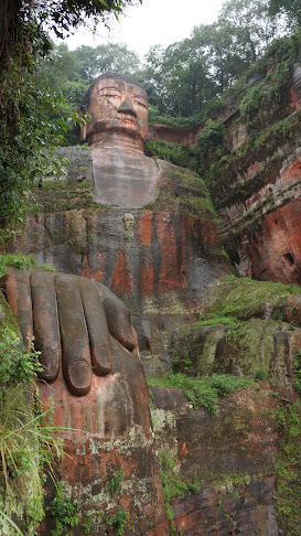 View of Leshan Grand Buddha from the winding stairways, Leshan, Sichuan
