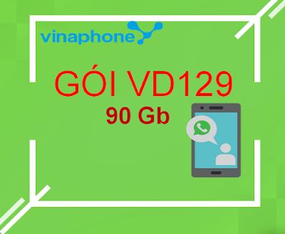 Nhận 90GB/ tháng (3GB/ ngày), 100 phút ngoại mạng, miễn phí nội mạng với gói VD129 Vinaphone