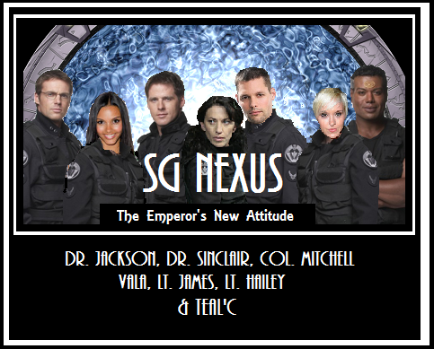 Jackson,Sinclair, Mitchell, Vala, MJ, Hailey, Teal'c