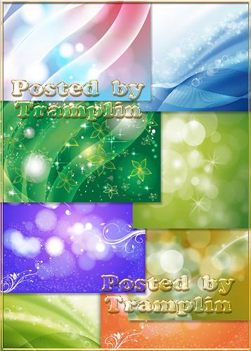 Разноцветные фоны с бликами и цветочками- Varicoloured backgrounds withs glare and flowers