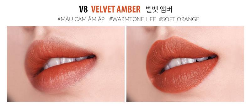 Moart Velvet Lip Tint V8 Velvet Amber
