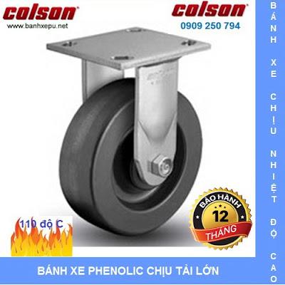 Bánh xe nhựa chịu nhiệt 110 độ C lò hấp Colson caster Mỹ | 4-5108-339