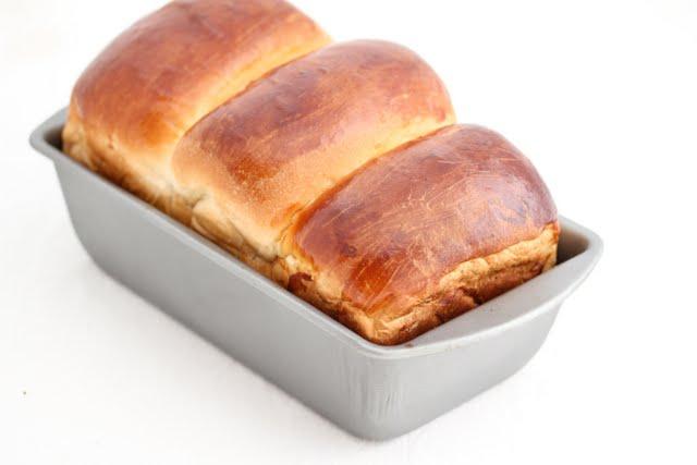 hokkaido milk toast loaf in a loaf pan