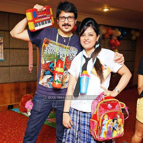 Kannu and Pooja at Mahak and Pulkit Dua's kindergarten-themed party at a city hotel in Indore.