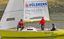 J/22 one-design sailboat- sailing European Championships in Netherlands- Banana Jama