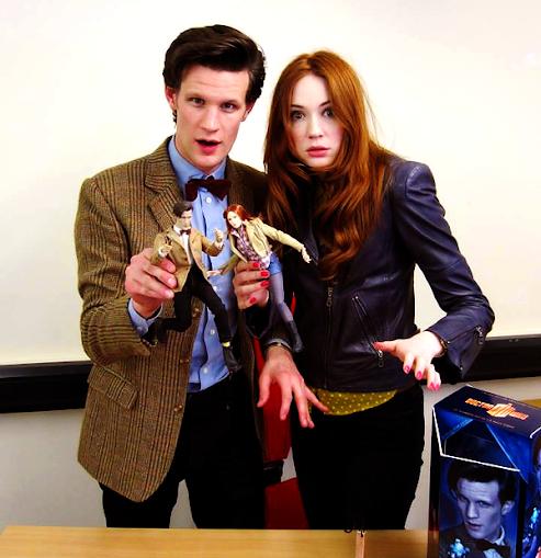 Matt and Karen posing with new action figures