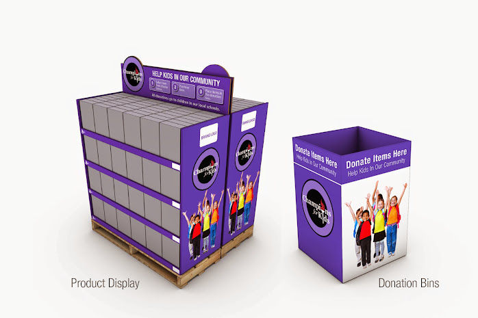 Champions for Kids donation bins and product purchase displays at participating Walmart stores #SnacksForStudents