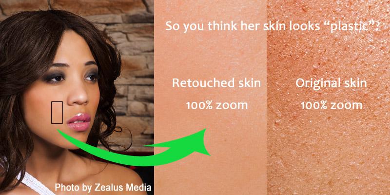 Сравнение оригинального и отретушированного изображения в 100% увеличении