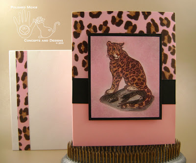 Picture of the pink leopard card and envelope combo