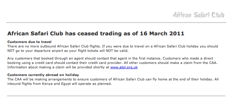 African Safari Club has finally ceased trading   The Rough