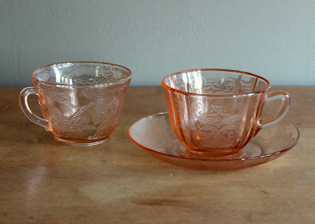 Pink depression glass saucers available for rent from www.momentarilyyours.com, $0.75 each.