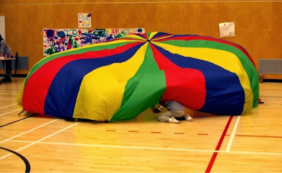 Gym Class Parachute! I love the 80's www.thebrighterwriter.blogspot.com