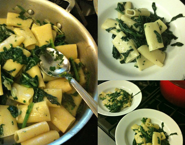 Rigatoni with Spinach, Garlic, and Parsley