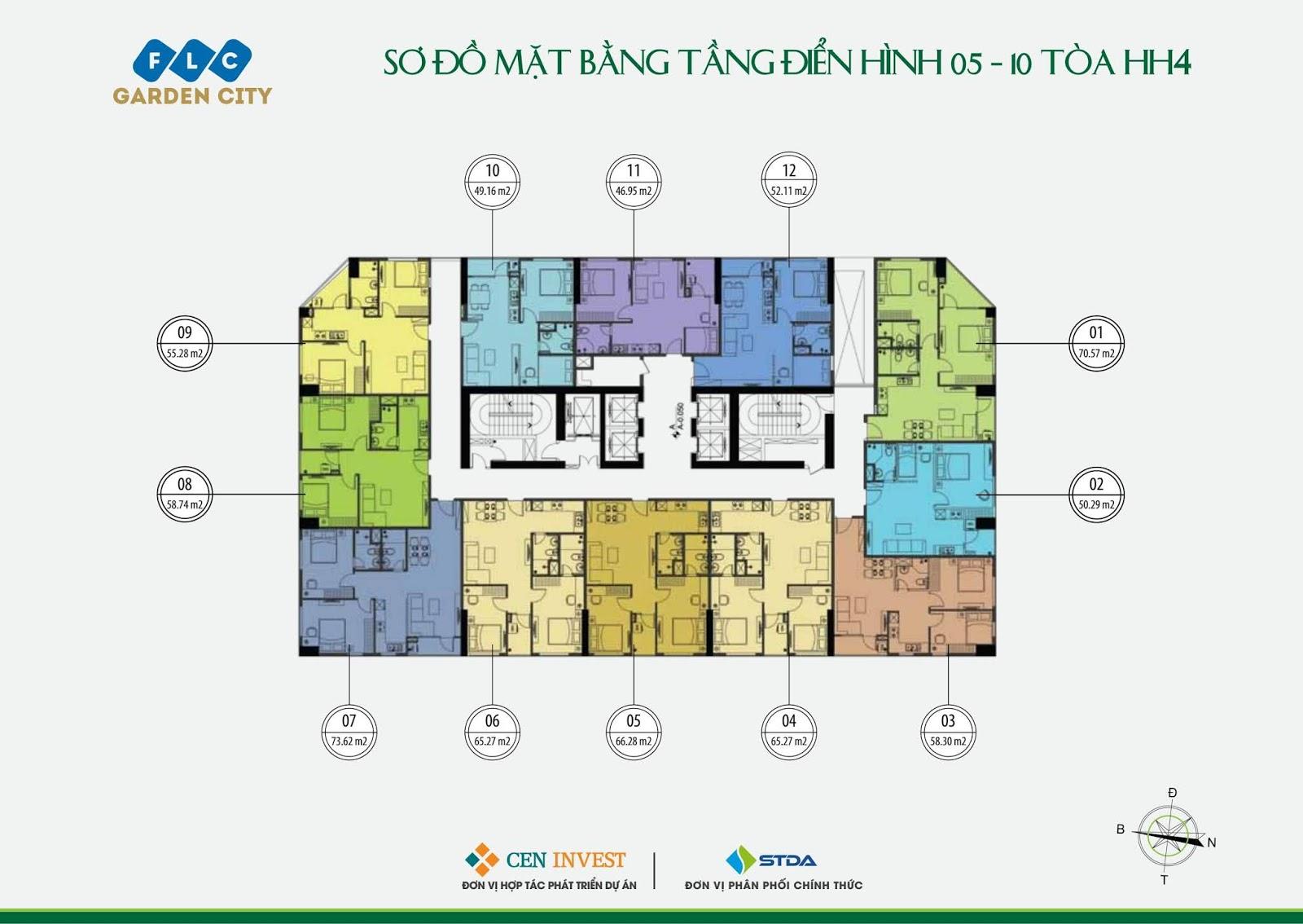 Mặt bằng tầng 05 - 10 Tòa HH4 dự án FLC Garden City Đại Mỗ