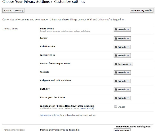 customize Facebook privacy settings