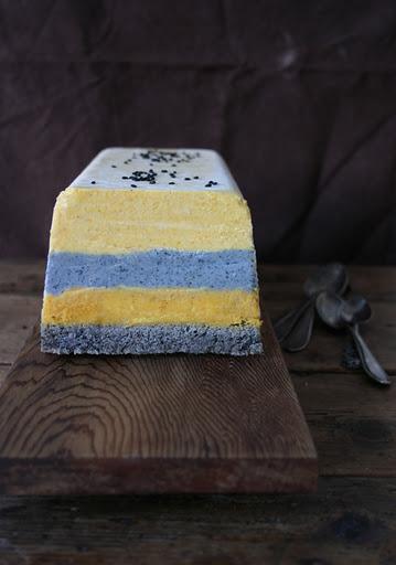 urbane fruits: Pumpkin and black sesame ice cream cake