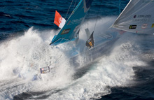 Jean-Pierre Dick sailing Virbac-Paprec 3 in Vendee Globe Race