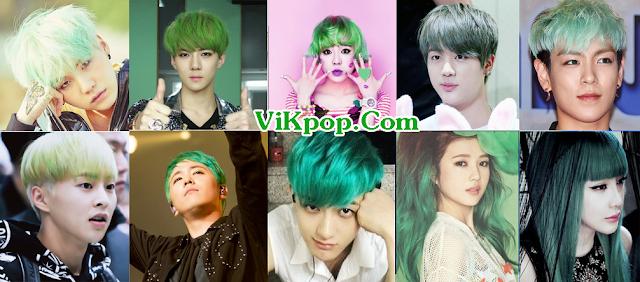 Theo bạn ai để tóc xanh lá cây đẹp nhất trong các thần tượng này ? (BTS, Bigbang, SNSD, EXO, ...)