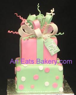 modern pink and green pastel present womens/teens birthday cake ...