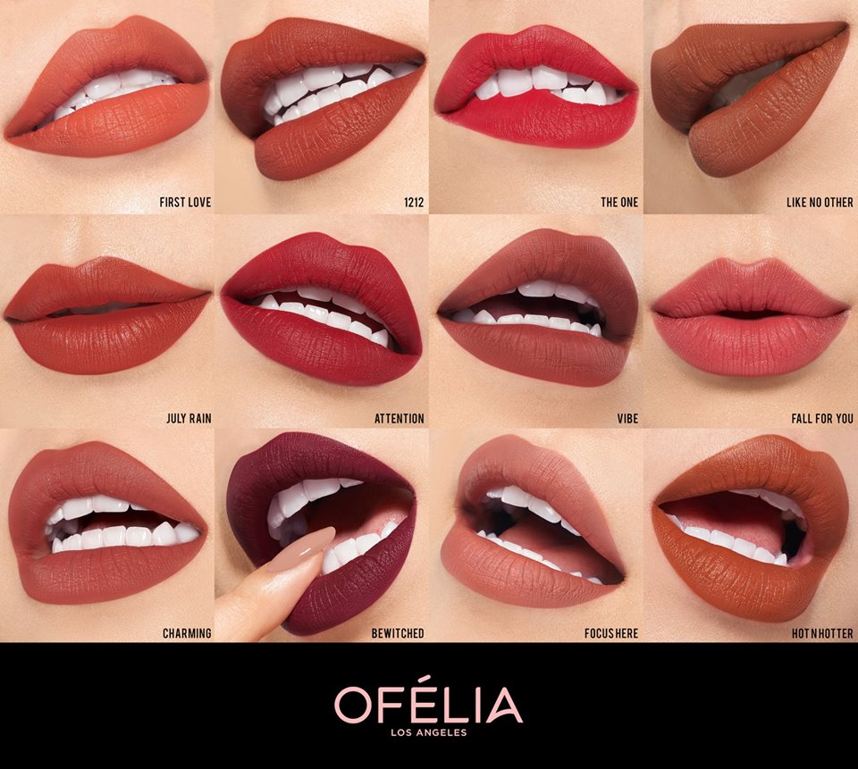 Bảng màu son Ofélia Nightfall Matte Lipstick
