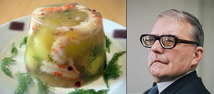 shrimp in aspic and a picture of composer Dimitri Shostakovich