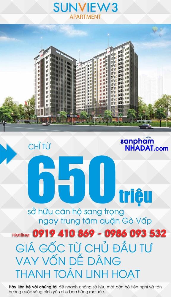 Mở bán Block A1 đẹp nhất dự án Sunview 3 trung tâm Gò Vấp, 650 triệu/căn