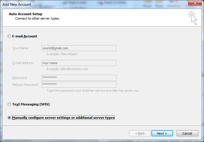 Create IMAP account for Gmail in Outlook 2010