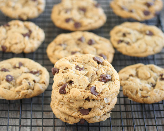 close-up photo of a stack of Flourless Peanut Butter Oatmeal Cookies