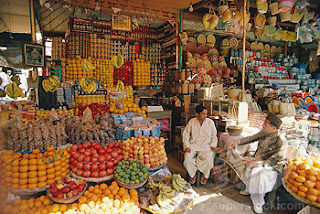 Fruit shops are full of fruits and vegetables in Pakistan