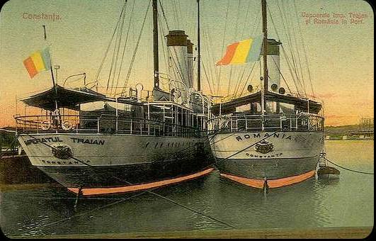 Traian and Romania ships in Constanta harbour