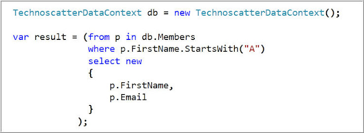 FILTERING : Get Members whose Name starts with 'A'