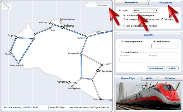 Screenshot - Webseite der Zugläufe der Trenitalia