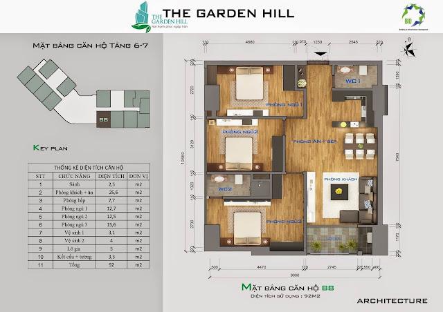 Căn B8 tầng 6,7 garden hill - 99 trần bình