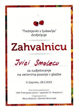 Zahvalnica  za sudjelovanje na pjesničkoj tribini 'Trešnjevki s ljubavlju'