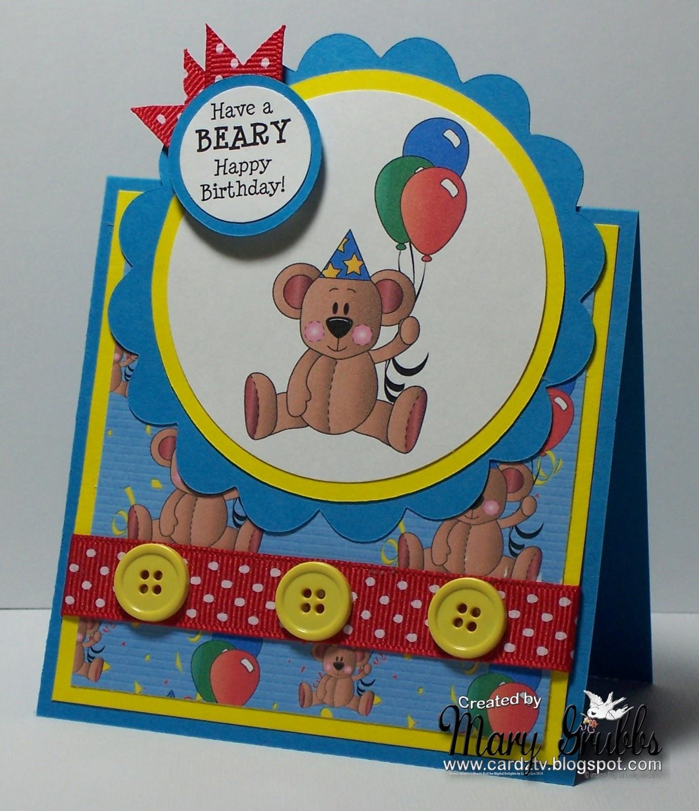 CARDZ TV Digital Delights Sunday Tutorial Tent Topper Birthday Card
