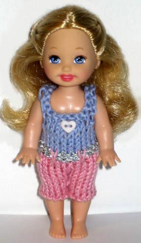 Сиренево-розовый комбинезон для куклы 11 см