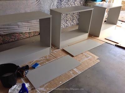old laminate shelves
