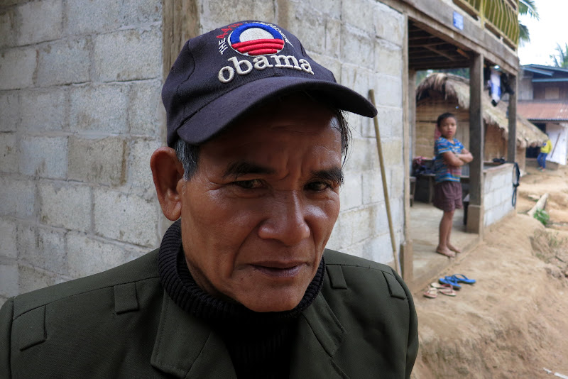 Village man wearing an Obama hat