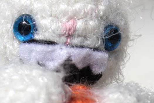 A hilarious fuzzy and crazy Bunny Amigurumi crochet pattern by The Sun and the Turtle!